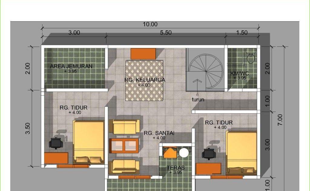denah rumah ukuran 6x9 3 kamar tidur