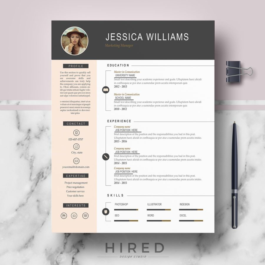 Professional Modern Resume Template For MS Word Jessica