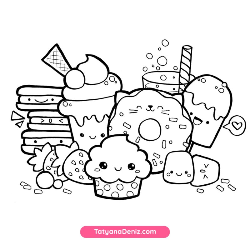 Kawaii Sweets Doodle Free Coloring Page Coloring Pages For Kids Disney Coloring Pages Turtle Coloring Pages