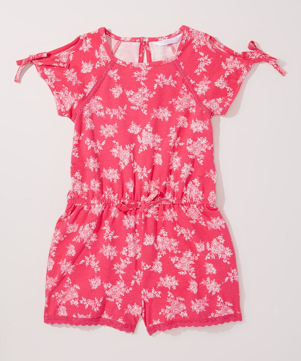 Take a look at this Pink & White Floral Blouson Romper - Girls today!