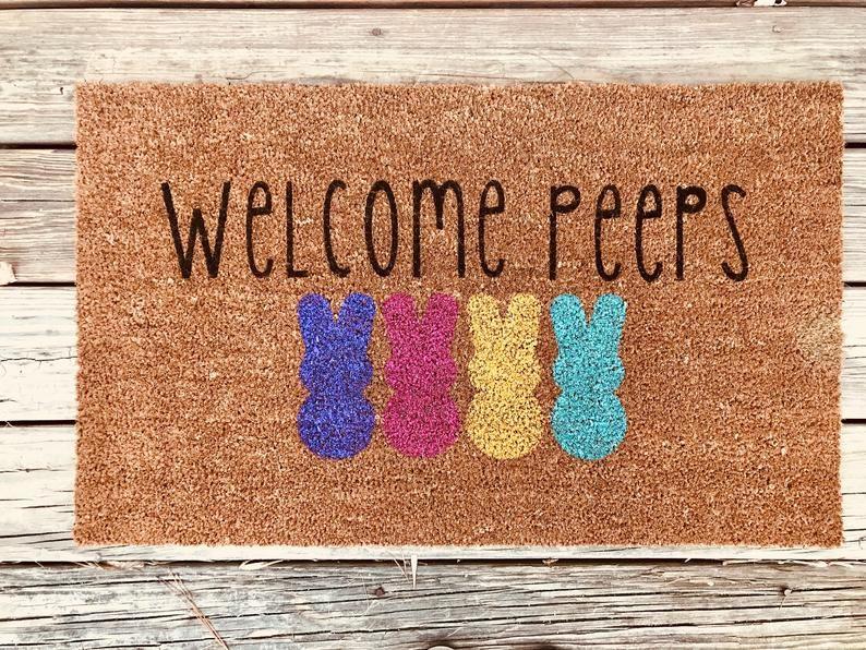 Easter Door Mat Doormat Welcome Mat Welcome Peeps Mat Etsy In 2021 Door Mat Diy Door Mat Easter Door