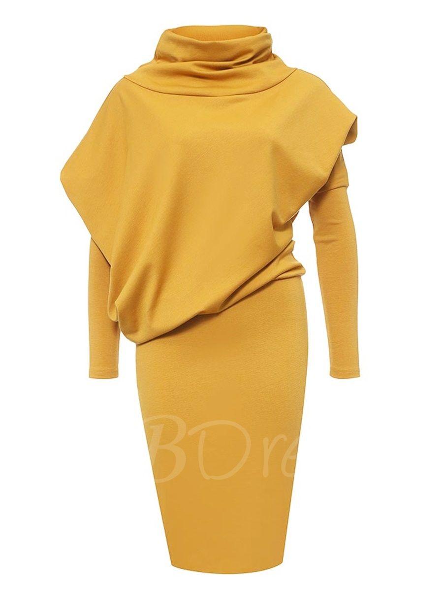 Turtleneck long sleeve womenus bodycon dress bodycon dress