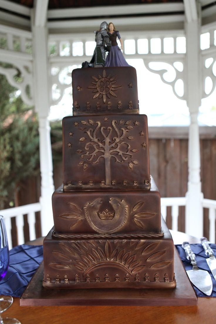 Lord Of The Rings Wedding Cake Eowyn And Faramir On Rohan Gondor Cakemarbled Chocolate Yellow With Strawberry Filling Buttercream Frosting