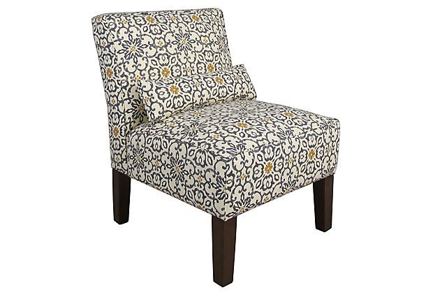 Bergman Armless Chair, Fog/Yellow on OneKingsLane.com