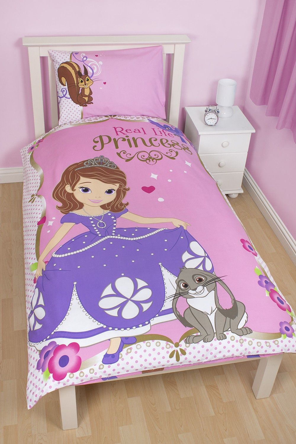 parure de lit de la princesse sofia sofia the first avec housse de couette r versible et jolie. Black Bedroom Furniture Sets. Home Design Ideas
