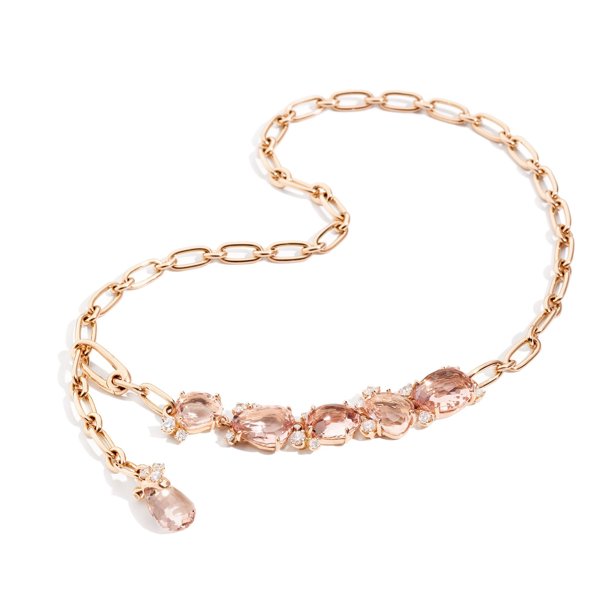 tw gold pendant halo with in rose diamond morganite necklace