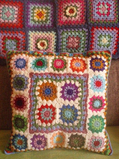 Crochet cushion and blanket