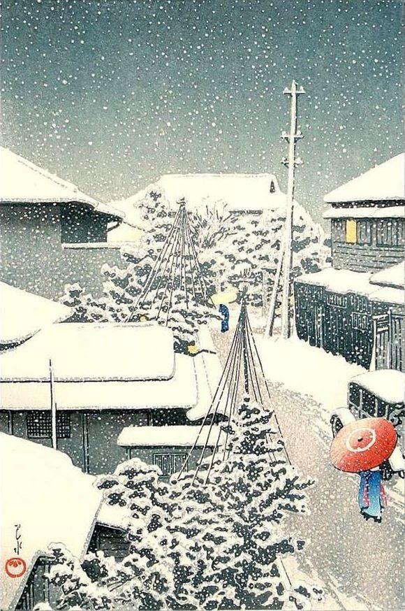 Snow at Daichi, by Kawase Hasui, 1925 --  http://www.ebay.com/itm/Kawase-Hasui-Snow-at-Daichi-Japanese-Woodblock-Print-/1412…  | Japanse prenten, Japanse kunst, Japan