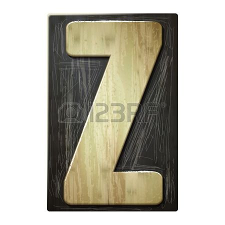 3d wood letterpress alphabet Z isolated on white background