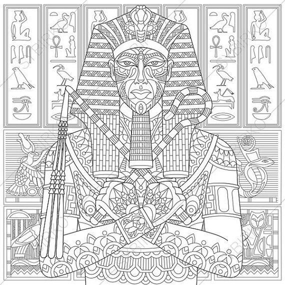 Coloring Pages For Adults Egyptian Pharaoh Tutankhamun Adult