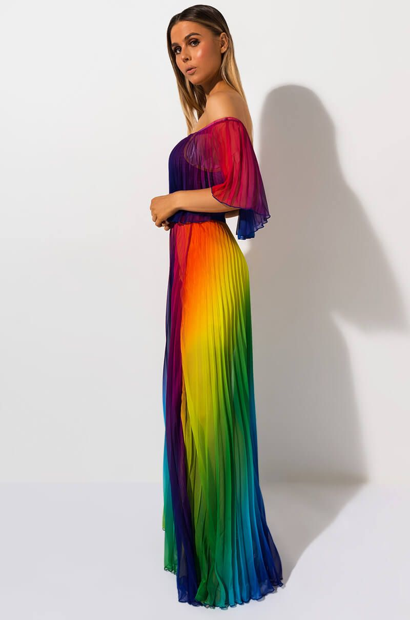 TASTE THE RAINBOW PLEATED MAXI DRESS | Rainbow outfit