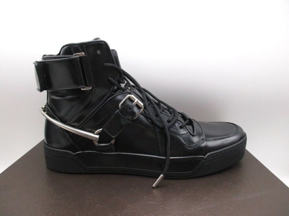 2eaceb07cdfd71 eBay  Sponsored Gucci Mens Black High Top Spur Horsebit Magnum Leather Sneakers  Shoes 9.5 G