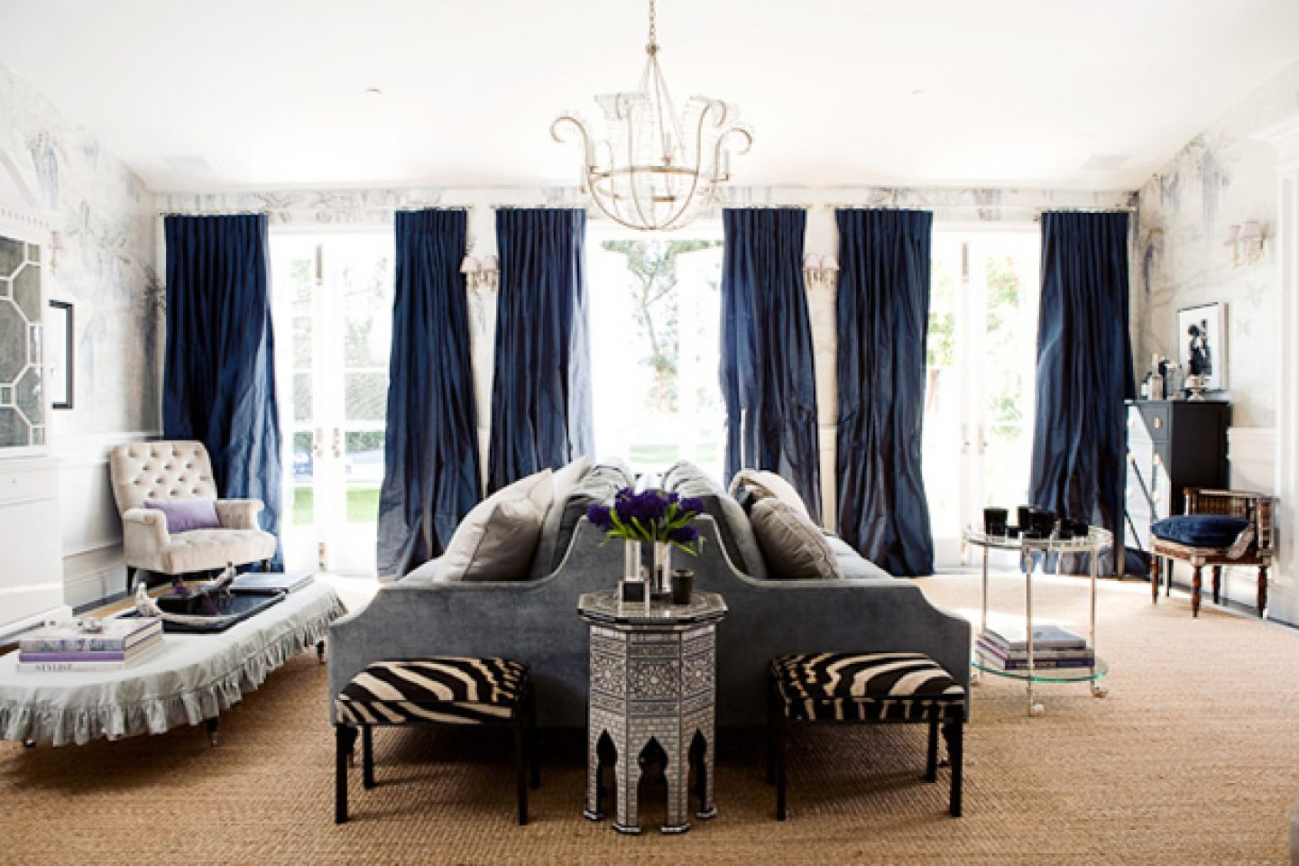 Modern Classic Living Room Gray Blue Curtains Drapes Hand Painted Extraordinary Classic Living Rooms Interior Design Design Ideas