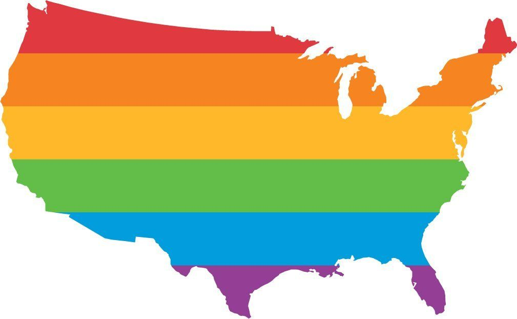 lgbt pride flag usa map home decal vinyl sticker 14 x 8