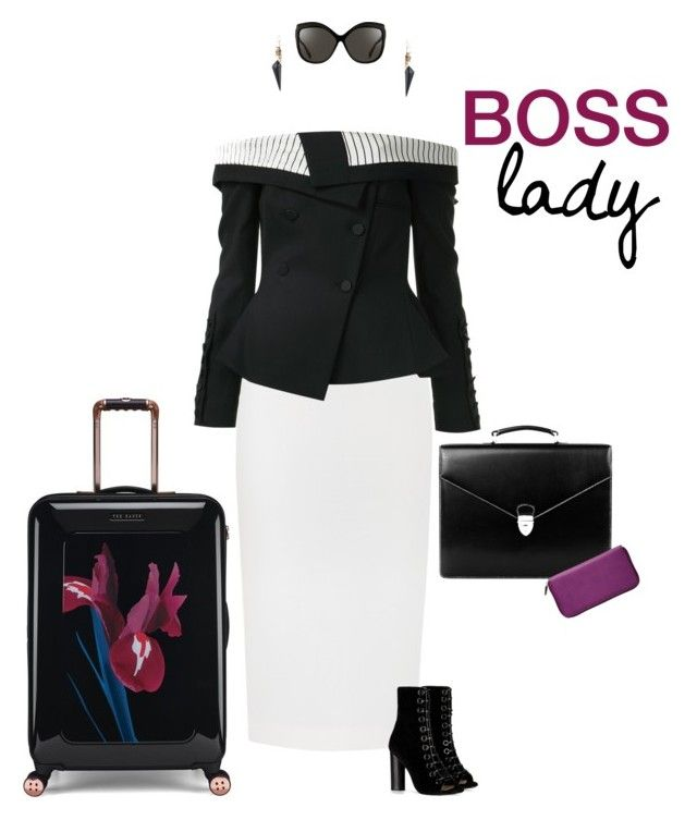 """Boss Lady"" by sophie-poualion on Polyvore featuring Ted Baker, Roland Mouret, Monse, Barbara Bui, Aspinal of London, TravelSmith, Linda Farrow and Alexis Bittar"