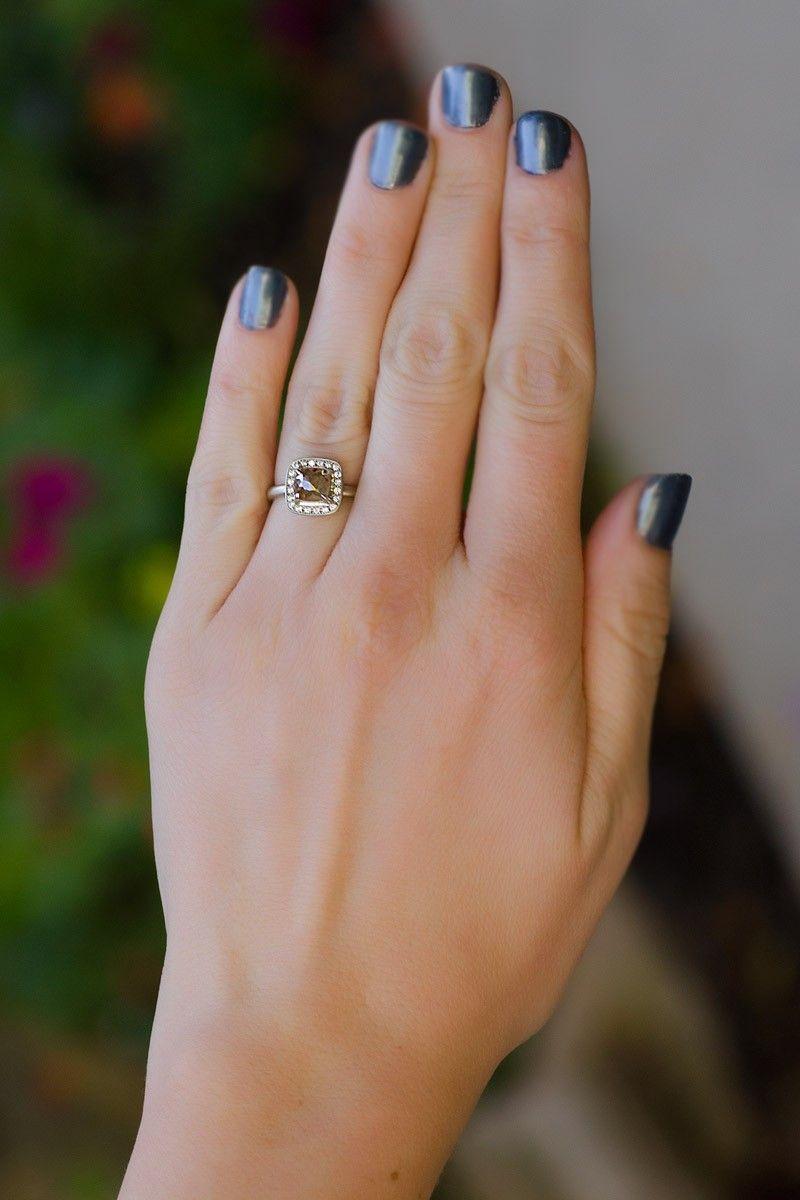 Anne Sportun 95ct Grey Diamond Ring Brushed Finish Size 65 14k White  Gold Ring