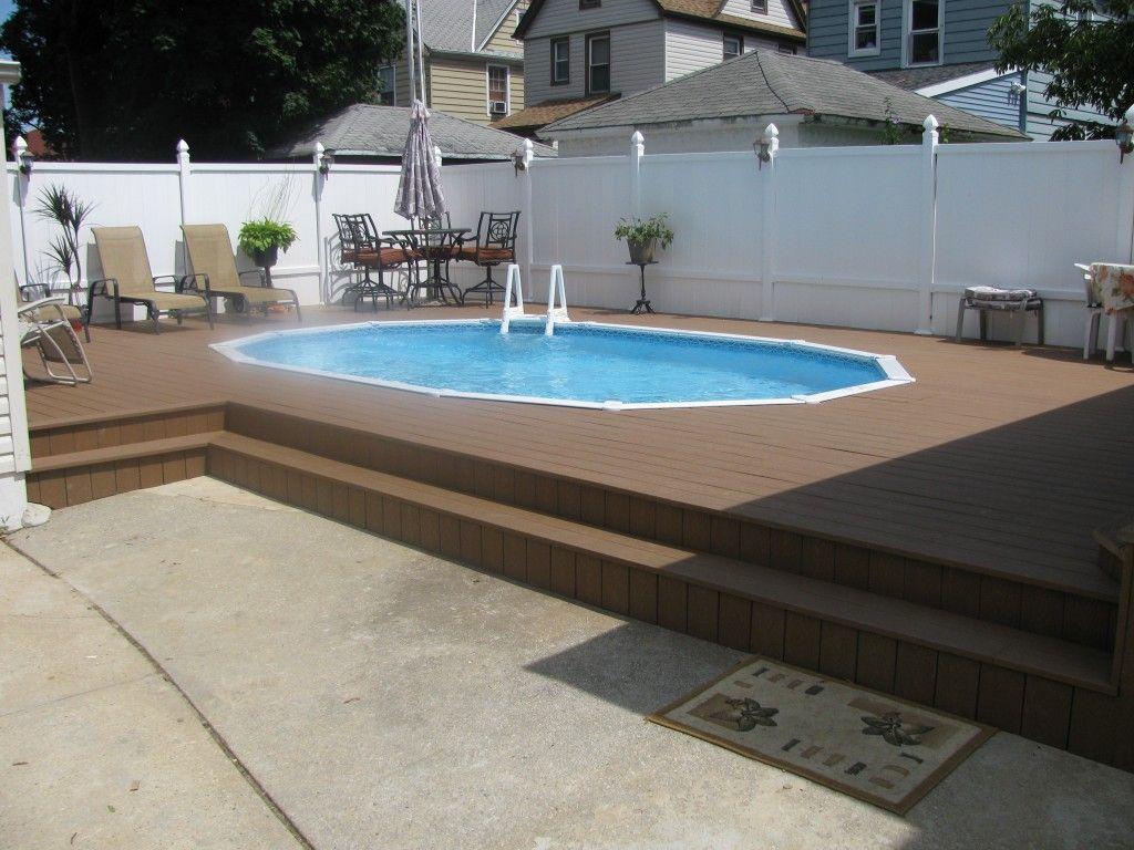 deck with semi in ground pool setup www guspools com semi in