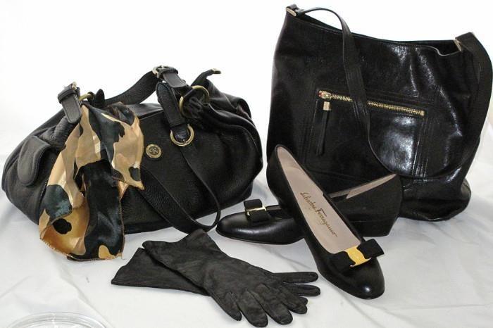 "Eaton's Made in Italy Black Leather gloves, Salvadore Ferragamo New-Never Worn  Classic Vera pump with iconic signature bow, 1 1/4"" heel. Left: Roni italian Designer Black Leather Handbag,  Ellen Tracy Black Smooth Leather Handbag"