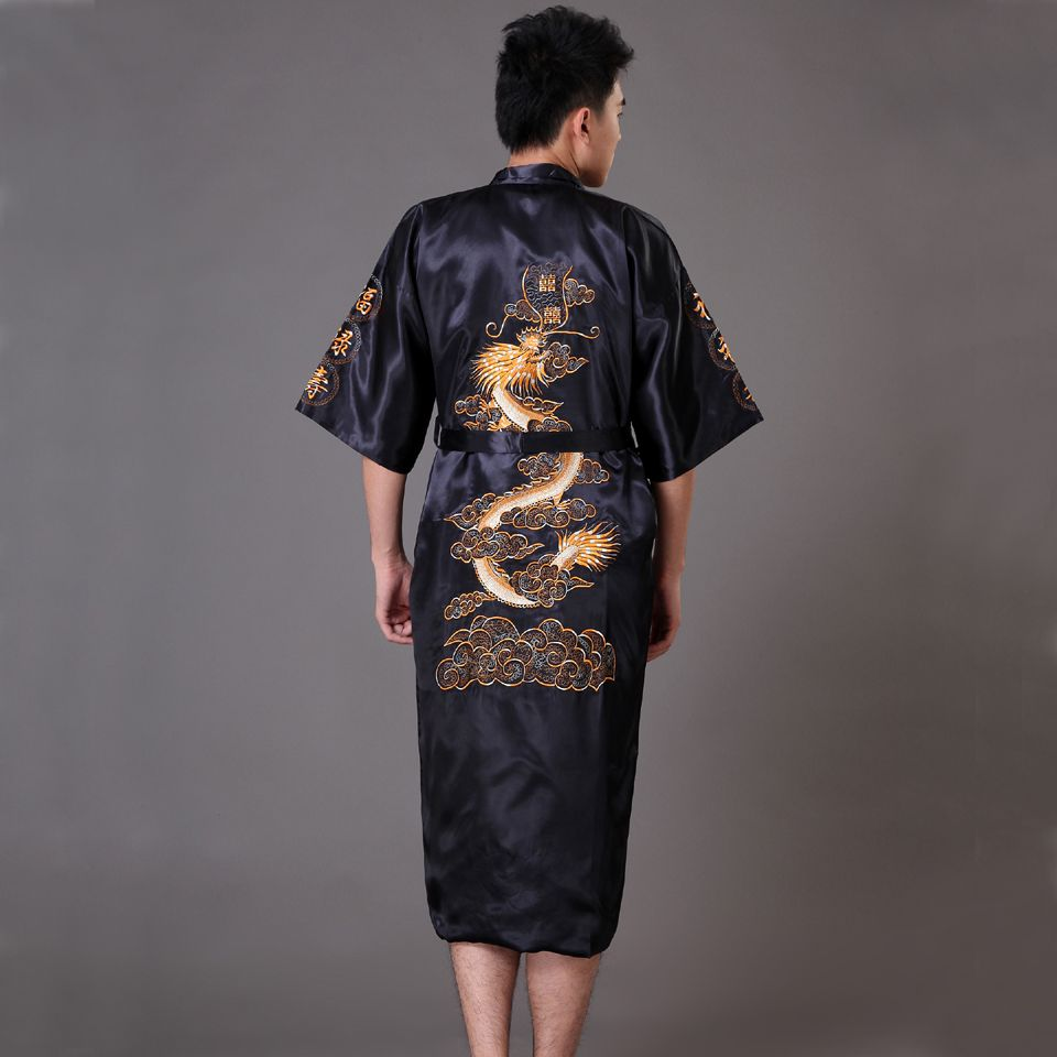 M-2XL Sexy Men's The New Double-sided Embroidery Dragon Pajamas Nightgown  Japanese Silk Kimono Robe Pajamas Nightdress Sleepwear Men's Sleepwear  Online with ...