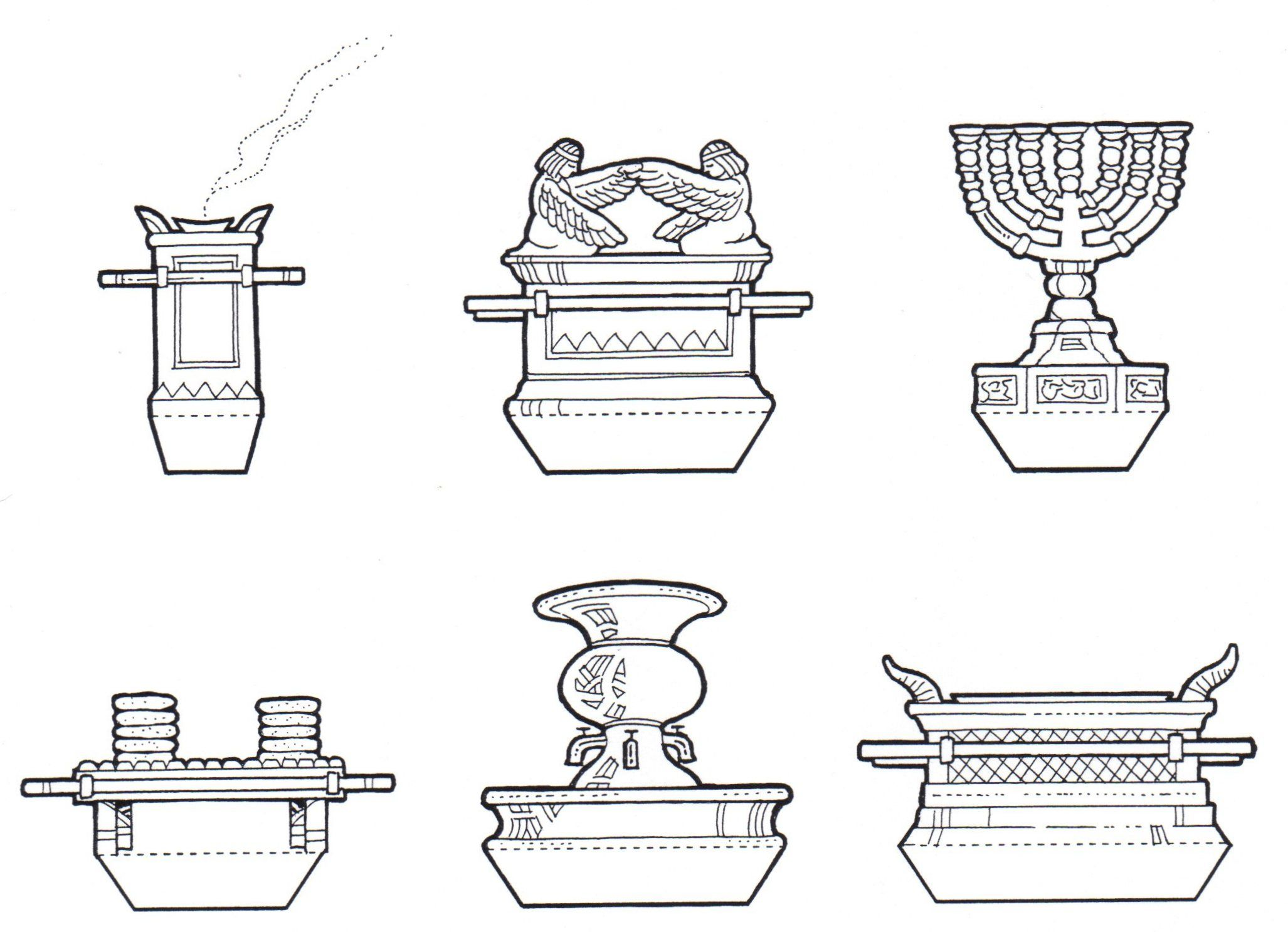 Coloring picture of the ark of covenant - Ark Of The Covenant And Items Of Worship From The Tabernacle And Temple