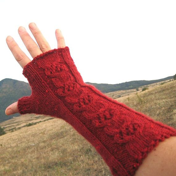 Cable Hand Knit Fingerless Gloves Fingerless Mittens Long Elegant Wool Darkred Beautiful guilloche Slightly curly edge Handmade by Dimana - I have these. Beautifully made.