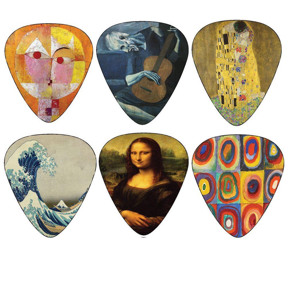 Creanoso Famous Guitar Picks - Pablo Picasso Guitarist, Gustav Klimt Kiss, Katsushika Hokusai, Paul Klee, Leonardo da Vinci Monalisa, Vassily Kandinsky Painting Picks - Best Cool Unique Guitar Gifts