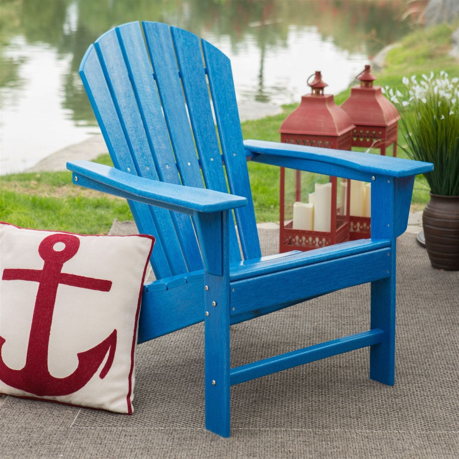 Weather Resistant Resin Heavy Duty Resin Adirondack Chair In Blue