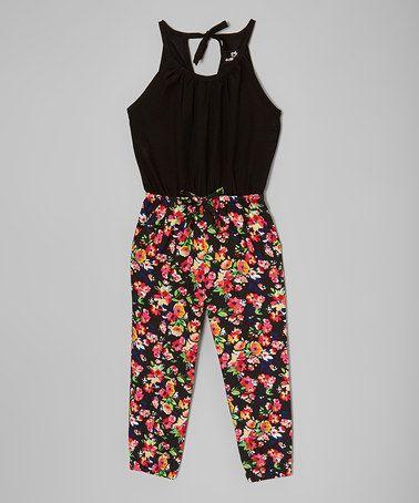 Another great find on #zulily! Black & Pink Floral Halter-Top Jumpsuit - Toddler & Girls #zulilyfinds