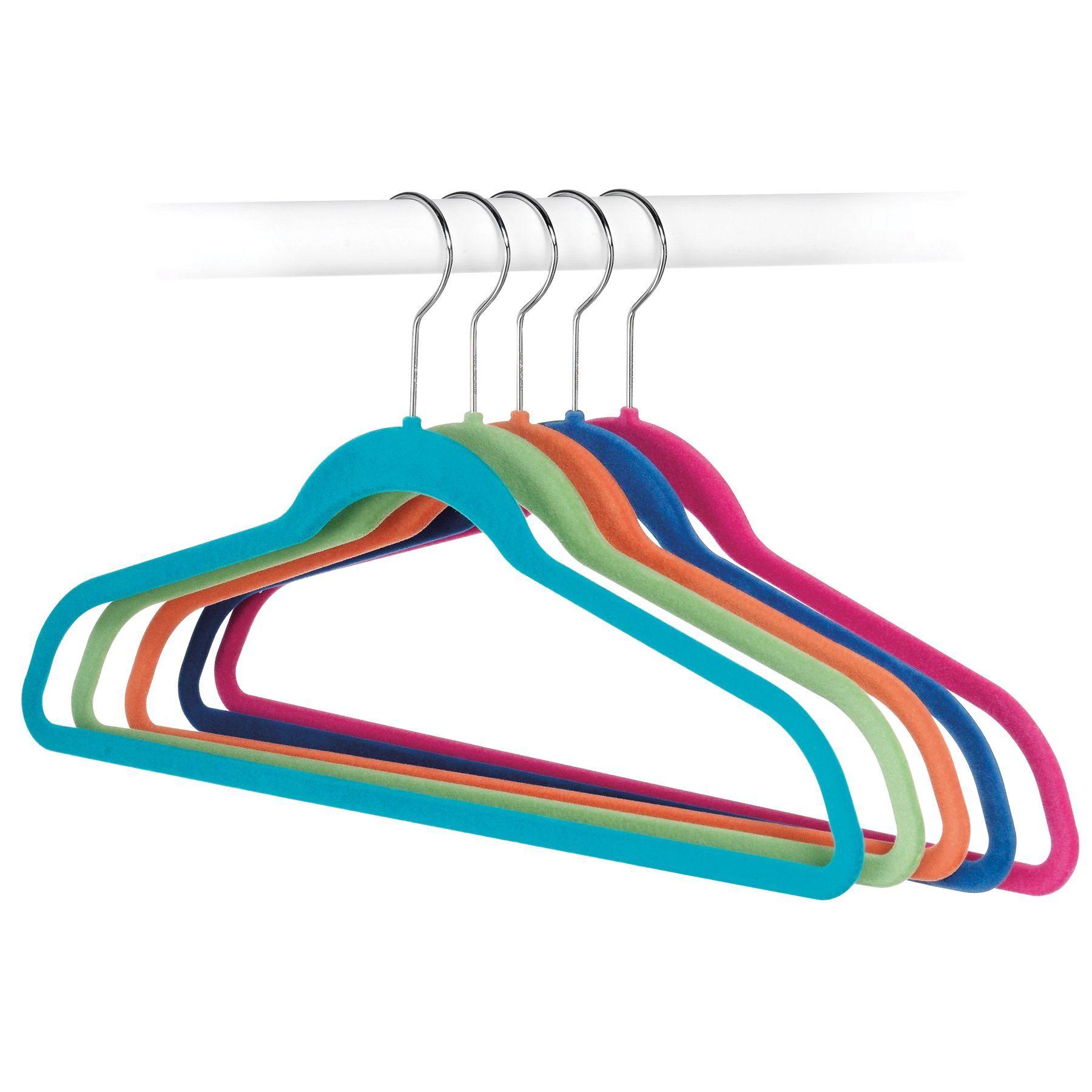 Whitmor 6784-1621-5 Flocked Suit Hangers Assorted Colors 5-ct (Hangers), Multi
