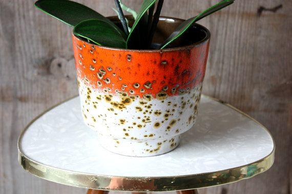 Planter ceramic / flower pot / pot holder / Scheurich / German pottery / vintage 60s 70s / home accessory / decoration / Blumentopf / Übertopf Keramik / Pflanzentopf / Keramiktopf / Scheurich / orange braun weiß / Wohnaccessoire / 60er 70er