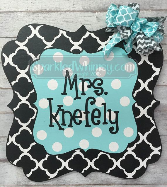 Personalized Quatrefoil Teacher Sign Black by SparkledWhimsy