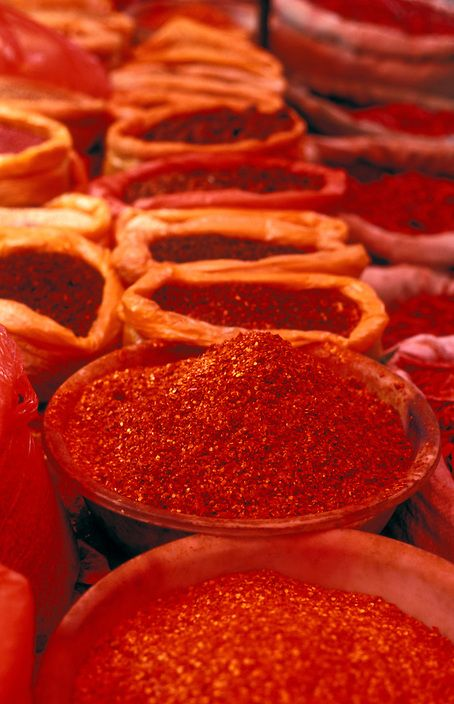 Pile of Chilies (Chili peppers) at Lijiang Spice Market, Yunnan, China | Petr Svarc Images