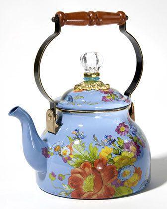MACKENZIE-CHILDS Flower Market Blue Two-Quart Tea Kettle $89 MACKENZIE-CHILDS Flower Market Blue Two-Quart Tea Kettle $89