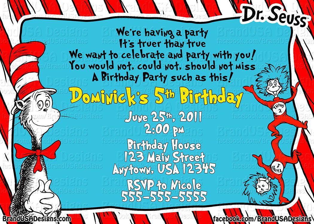 Cat in the Hat Invitation Dr Seuss Invitations, Custom Birthday Invitations, Invitation Wording,