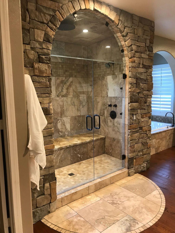 30+ Attrative Rustic Bathroom Decoration With Wall Stone Ideas