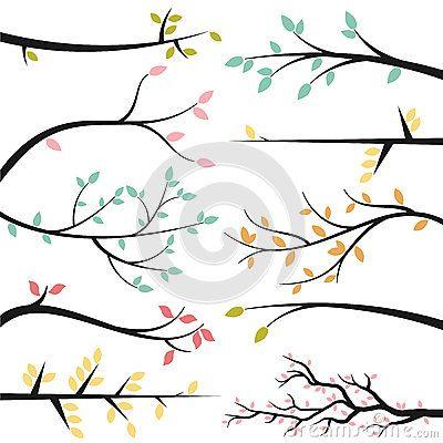 Colecci n del vector de ramas de rbol retos e - Ramas de arboles ...