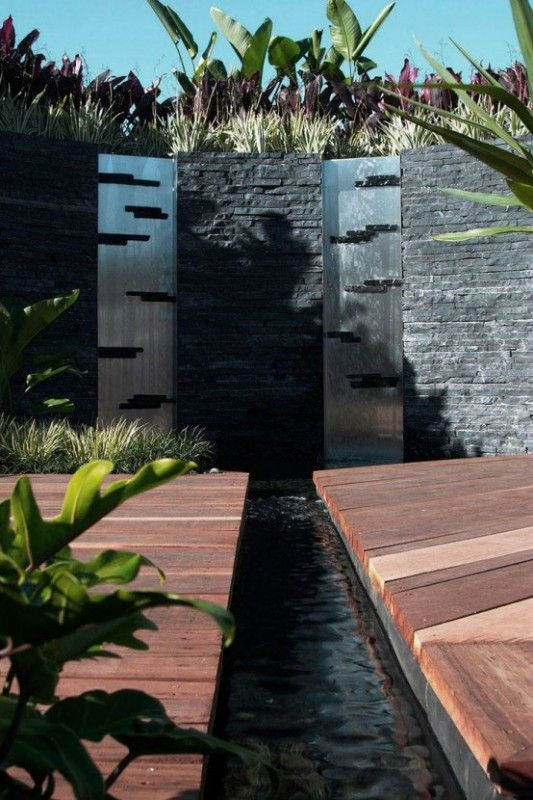 Garden Modern Twin Outdoor Water Walls Design Ideas With Chrome Background Pond Fountains Waterfall Indoor