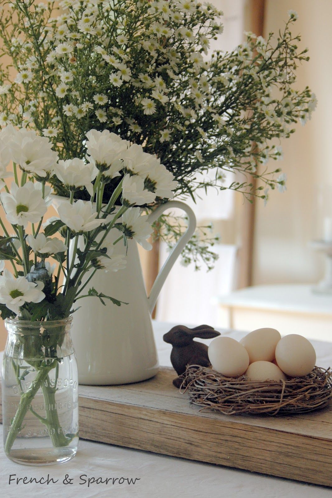 French Sparrow Easter Table Decorating
