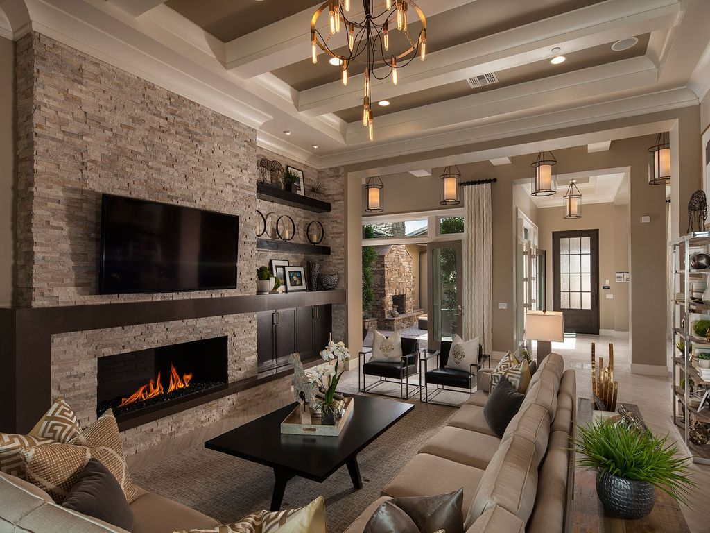 Transitional living room with crown molding high ceiling - Living room with fireplace ...