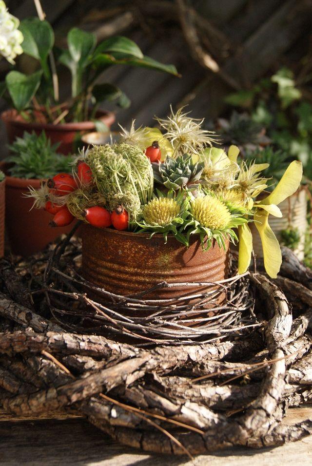 DIY Dekoration für den Gartentisch im September Garten