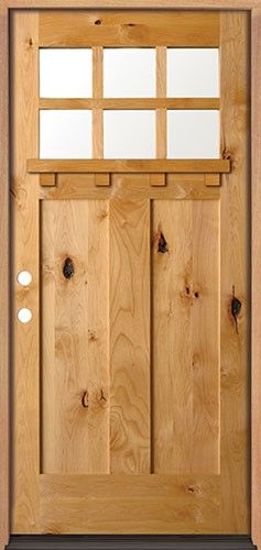 Discount Knotty Alder 6 Lite Shaker Craftsman Door With Shelf Craftsman Front Doors Craftsman Door Wood Front Doors