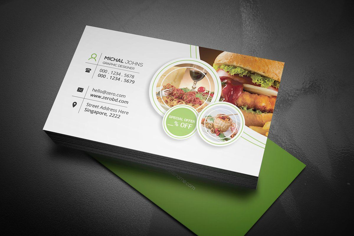 Psd Fast Food Restaurant Business Card Design Food Business Card Restaurant Card Design Restaurant Business Cards