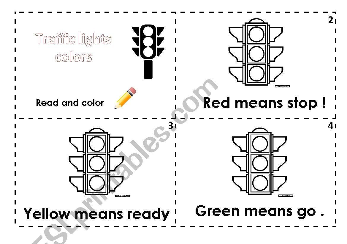 Traffic Lights Read And Color Worksheet