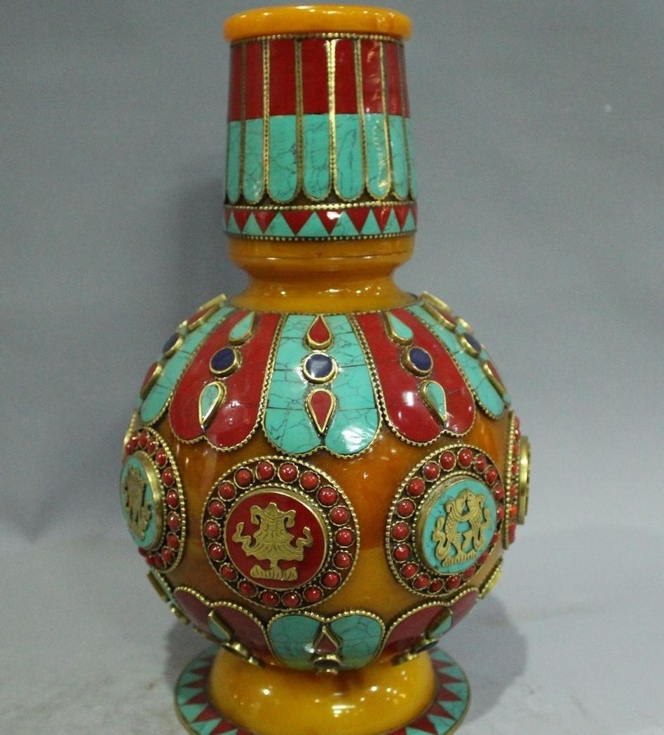"""12""""Tibet Buddhism Temple Beeswax Gild Turquoise Coral Gem eight treasures Vase(China (Mainland))"""