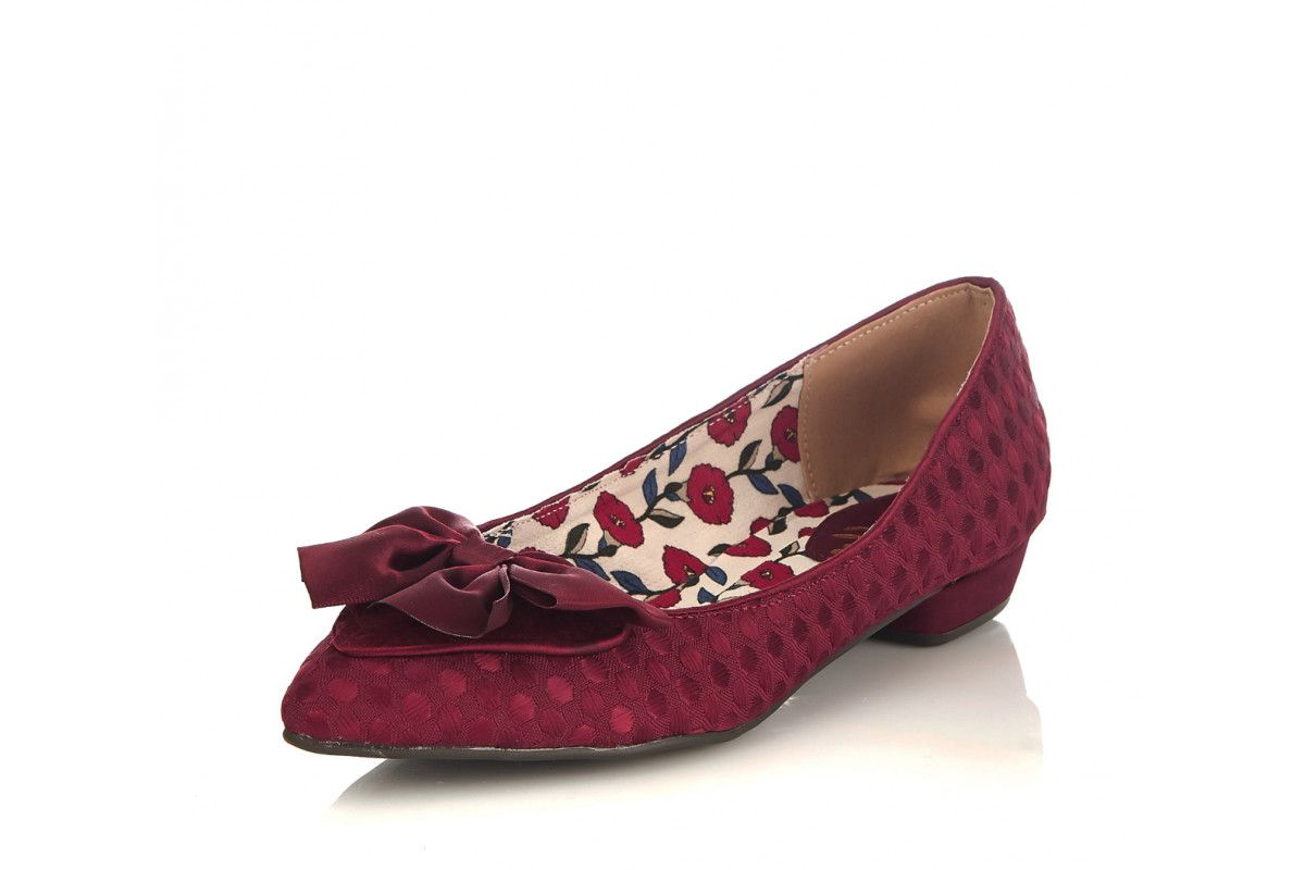3b18d4ba47e Ruby Shoo Cora Burgundy Polka Dot Pointed Toe Low Heel Ballet Shoes ...
