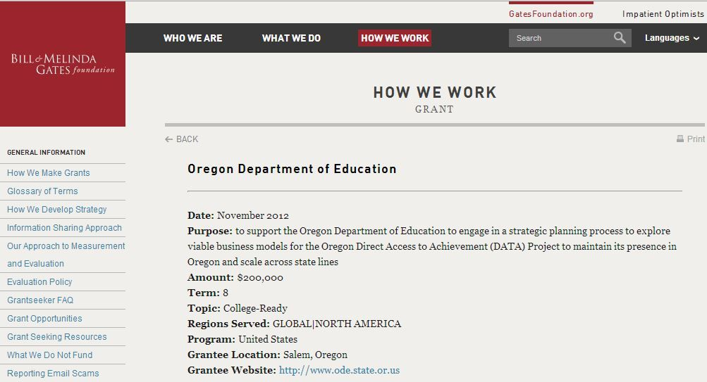 Oregon Department of Education Date: November 2012 Purpose: to support the  Oregon Department of