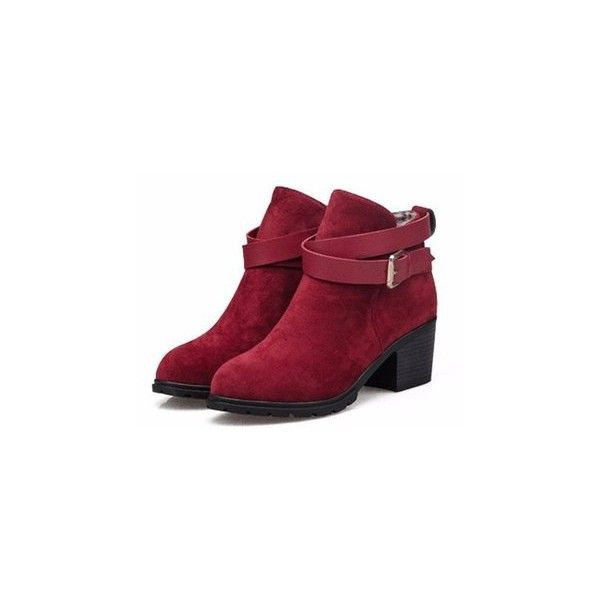Buckle Ankle Low Heel Slip On Martin Chunky Heel Boots (£13) ❤ liked on Polyvore featuring shoes, boots, ankle booties, red, chunky heel ankle boots, short heel boots, ankle boots, chunky heel booties and buckle boots