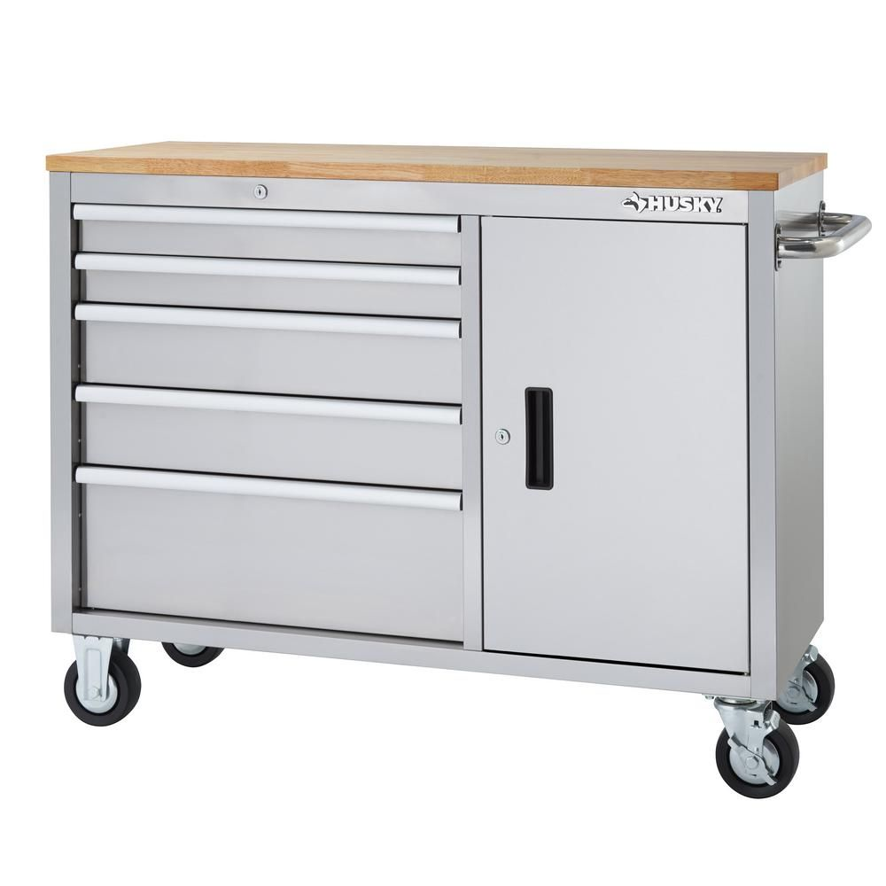 Husky 46 In 5 Drawer And 1 Door Stainless Steel Mobile Workbench Hyls 4806 The Home Depot Mobile Workbench Workbench Tool Storage
