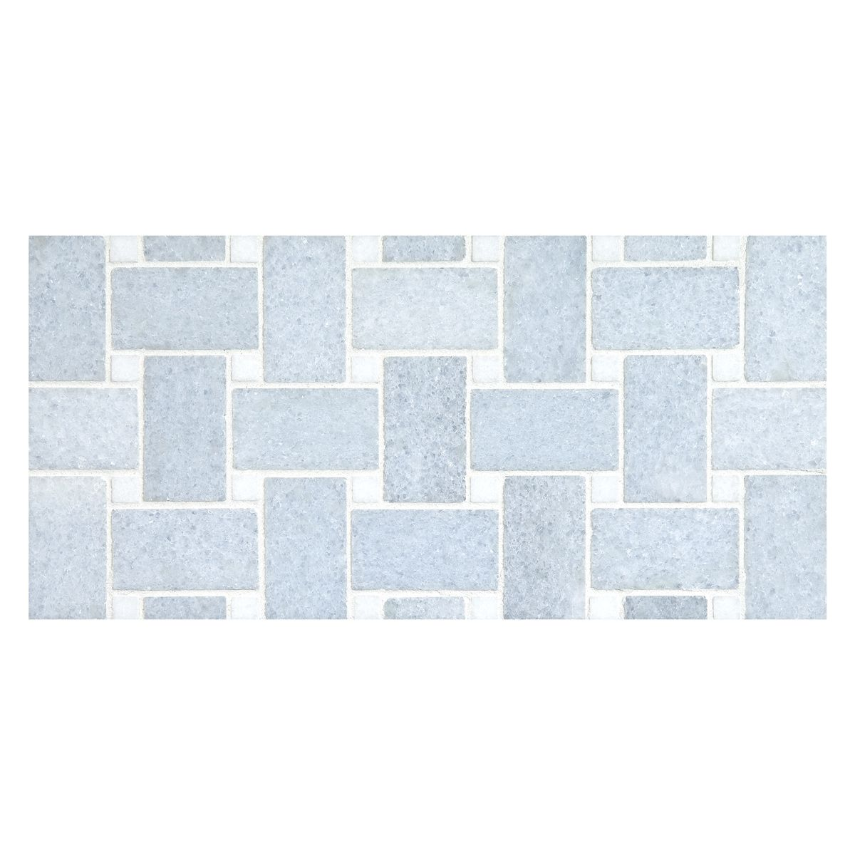 Complete Tile Collection Basketweave Mosaic In Blue Celeste Dark Marble With Thassos Dots Polished Mi Basket Weave Tile Blue Mosaic Basketweave Tile Floor