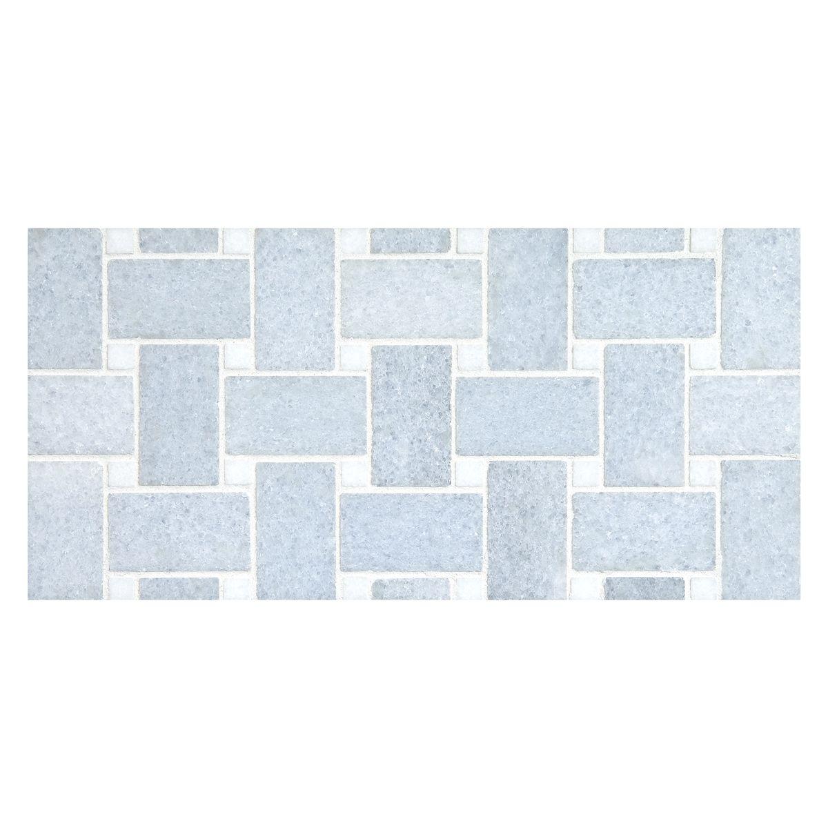 basketweave mosaic in blue celeste dark
